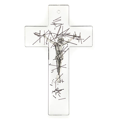 Modern crucifix in Murano glass with black lines 8x5 inc 3