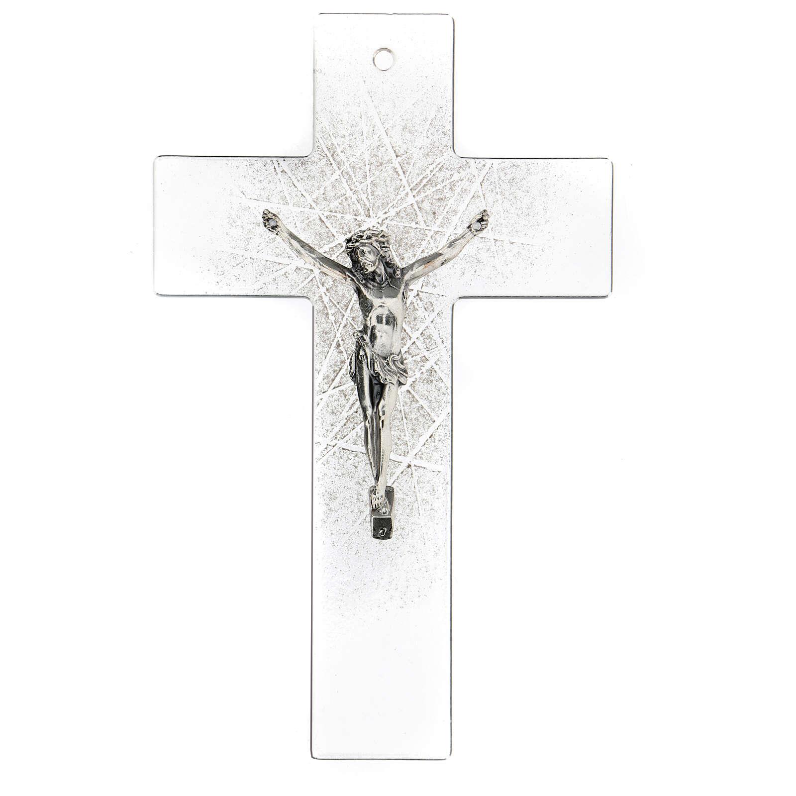 Crucifijo de vidrio moderno con matices negras 20x15 cm 4
