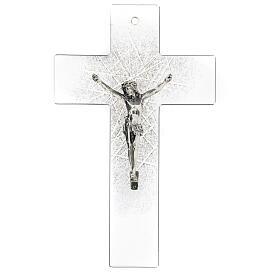 Crucifijo de vidrio moderno con matices negras 20x15 cm s1