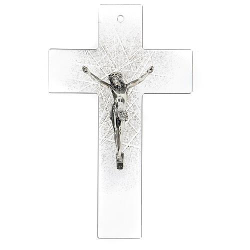 Crucifijo de vidrio moderno con matices negras 20x15 cm 1