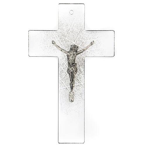 Crucifijo de vidrio moderno con matices negras 20x15 cm 3