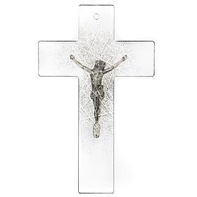 Crocifisso in vetro moderno con sfumature nere 20x15 cm s3