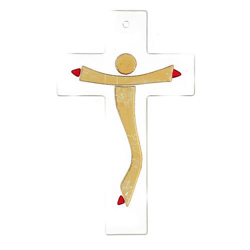 Krucyfiks szkło Murano korpus złoty stylizowany 20x15 cm 3