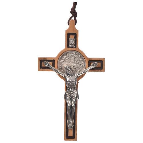 Kreuz Schmuck-Anhaenger Heilig Benediktus Oliven-Holz