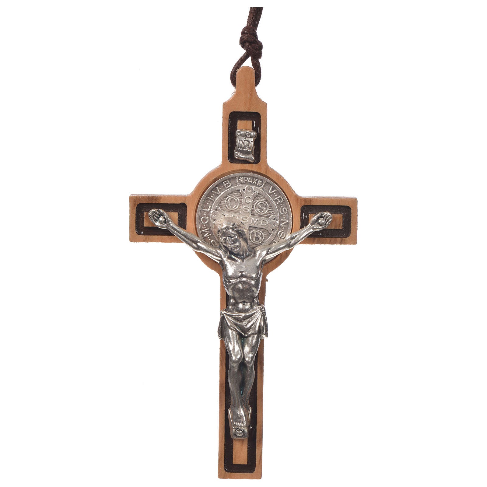 Pendant cross St Benedict olive wood 4
