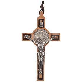 Pendant cross St Benedict olive wood s1