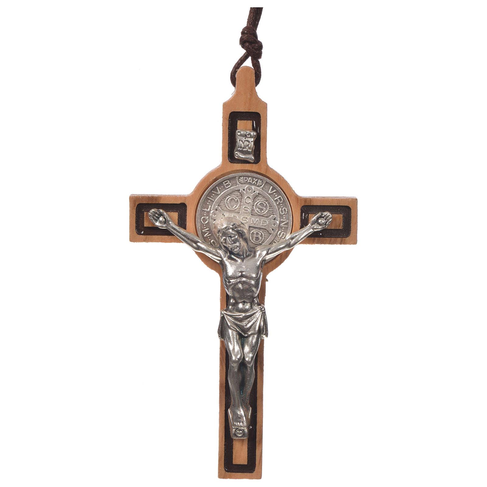 Pendentif S. Benoit croix en bois d'olivier 4