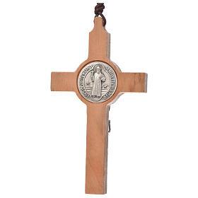 Pendentif S. Benoit croix en bois d'olivier s2