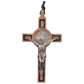 Krzyż wisiorek świętego Benedykta drewno oliwkowe s1