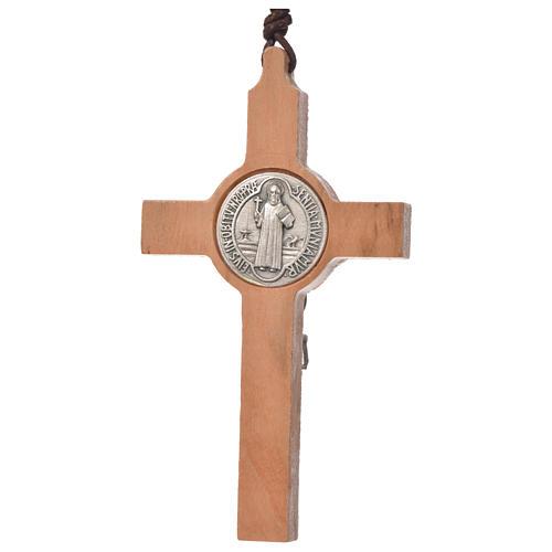 Krzyż wisiorek świętego Benedykta drewno oliwkowe 2