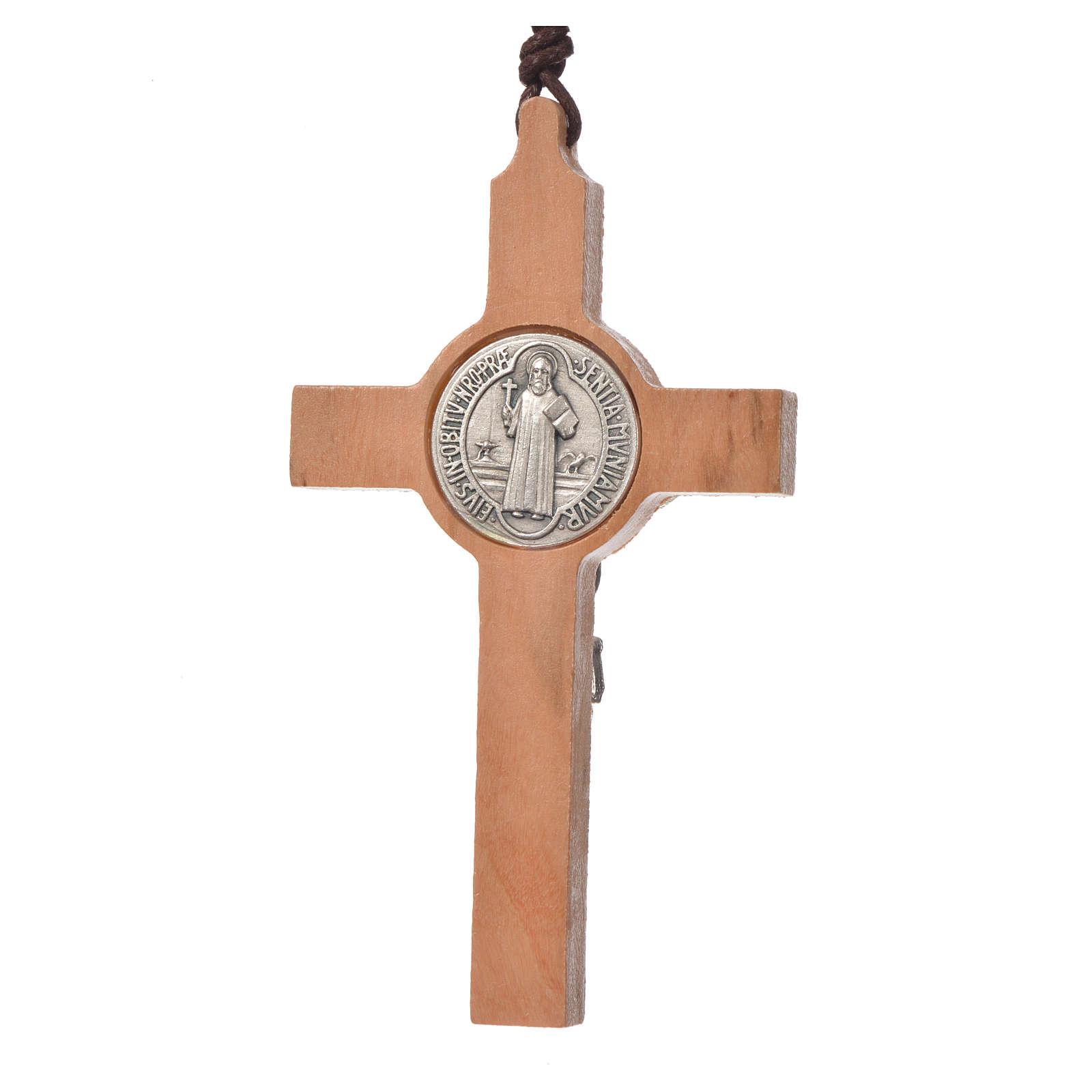 Pendant cross St Benedict olive wood 4