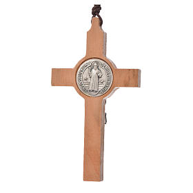 Pendant cross St Benedict olive wood s2