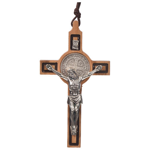 Pendant cross St Benedict olive wood 1