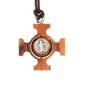 Pendente croce greca girevole san Benedetto s1