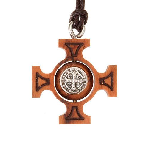 Pendente croce greca girevole san Benedetto 2