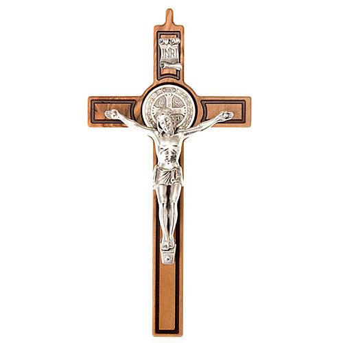 Croce san Benedetto olivo incisa 20 cm 1
