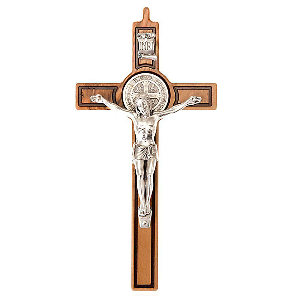 Cross of St Benedict, engraved olive wood 4