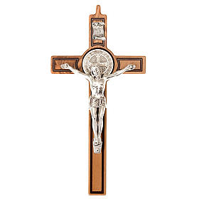 Cross of St Benedict, engraved olive wood s1