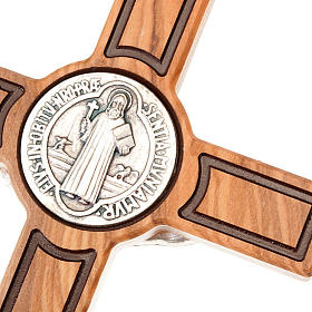 Cross of St Benedict, engraved olive wood s3