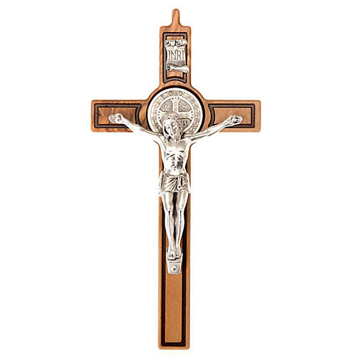 Cross of St Benedict, engraved olive wood 1