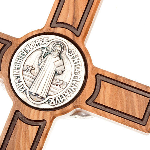 Cross of St Benedict, engraved olive wood 3