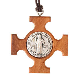 Pendenti croce legno: Ciondolo croce greca san Benedetto