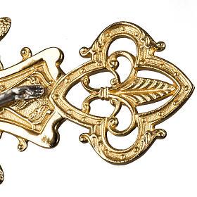 Croce astile in bronzo con decori s5