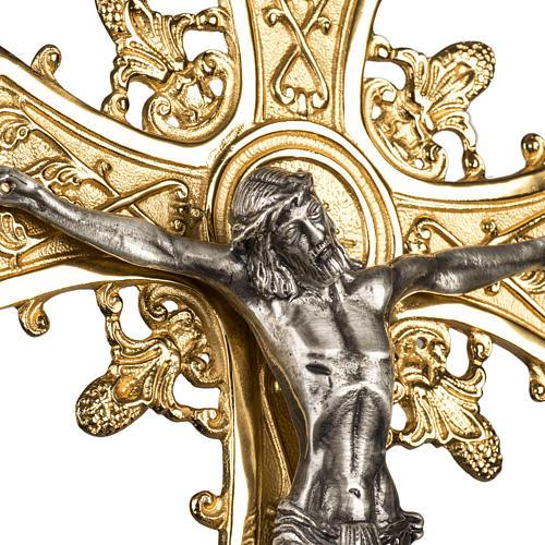 Croce astile in bronzo con decori 4
