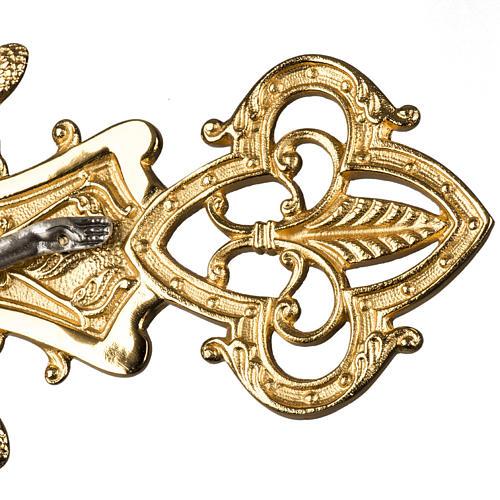 Croce astile in bronzo con decori 5