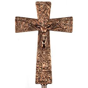 Krzyż procesyjny z brązu wizerunki Drogi Krzyżowej s1