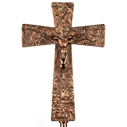 Krzyż procesyjny z brązu wizerunki Drogi Krzyżowej 1