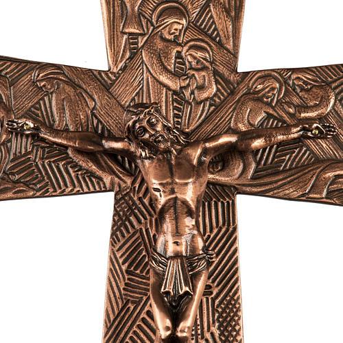 Krzyż procesyjny z brązu wizerunki Drogi Krzyżowej 2