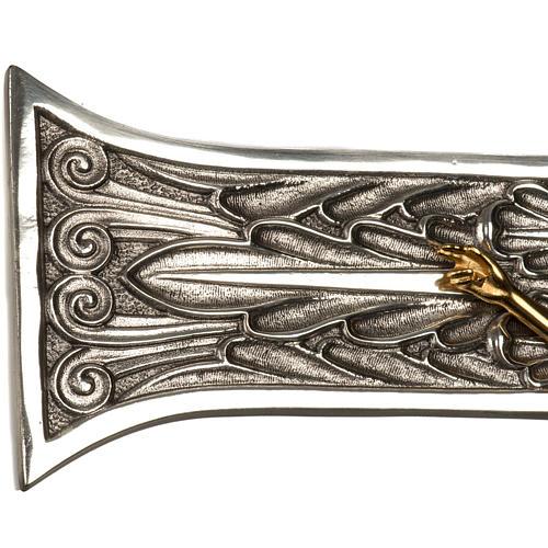 Cruz procesional bronce plateado cuerpo dorado 5