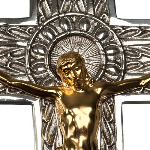 Cruz procesional bronce plateado cuerpo dorado 6