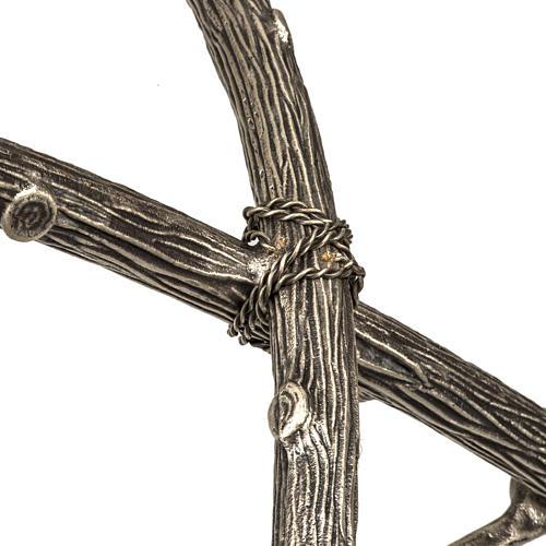Croce astile pastorale in bronzo argentato 7