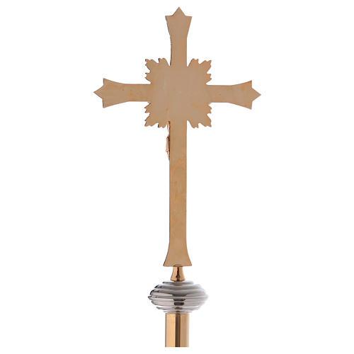 Cruz procesional con base en latón dorado 6