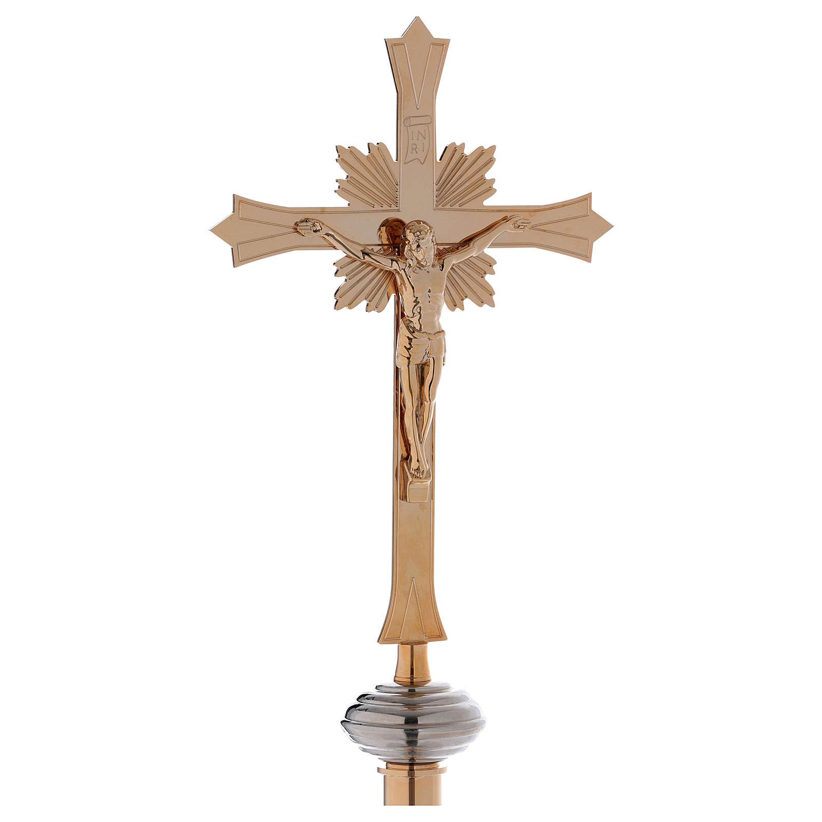 Croce astile con base in ottone dorato 4