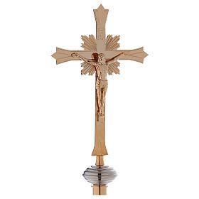 Croce astile con base in ottone dorato s1