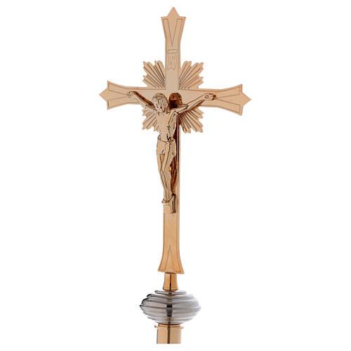 Croce astile con base in ottone dorato 2