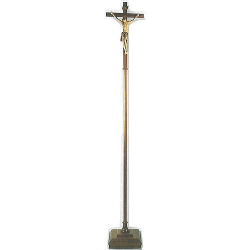Processional cross in wood H180cm with base 1