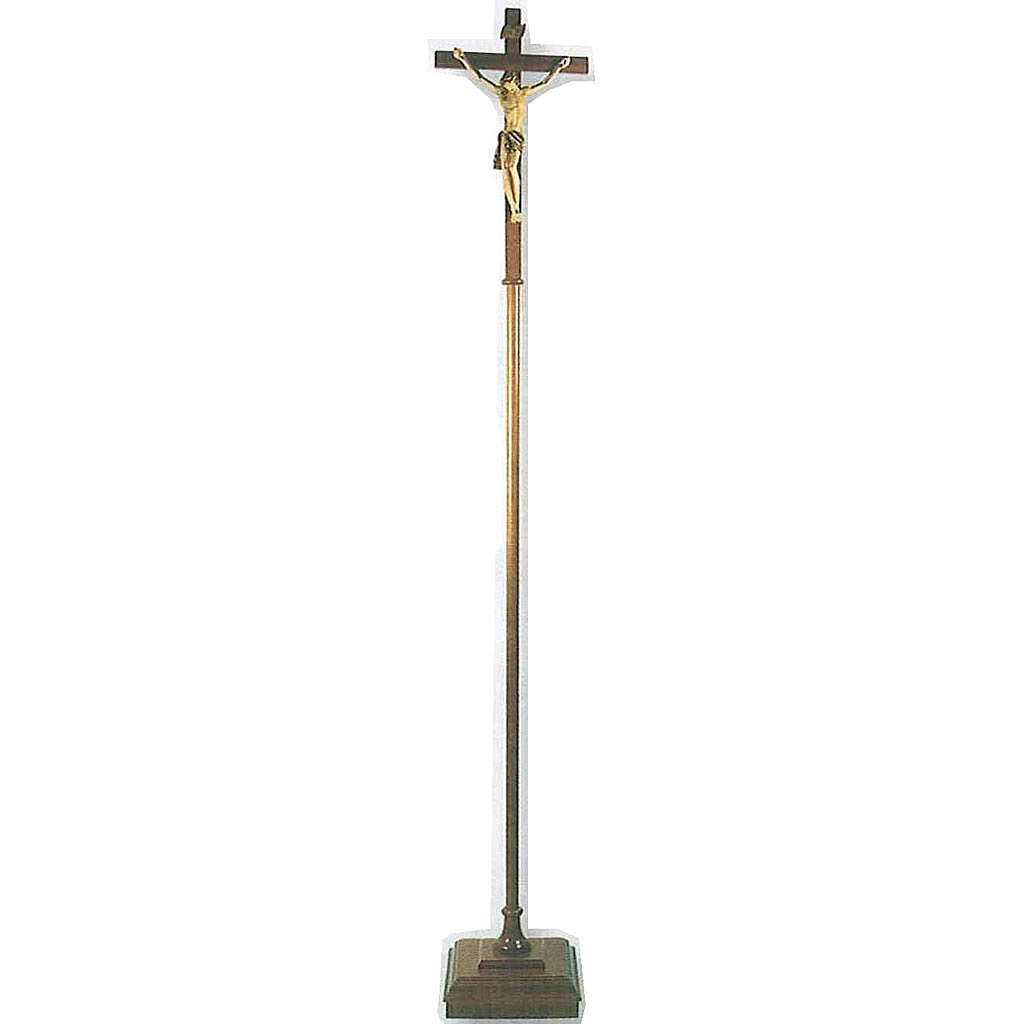Cruz procesional de madera h.180 cm con base 4