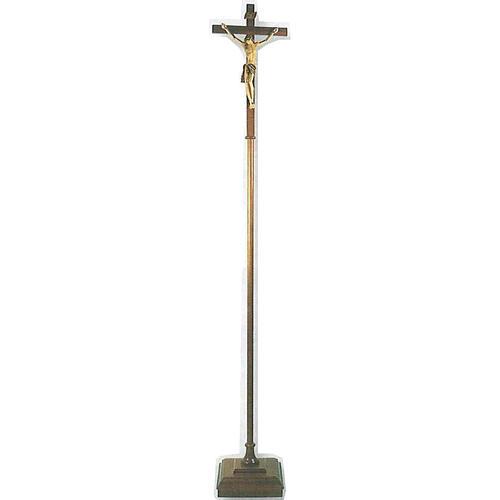 Krzyż procesyjny drewno h 180 cm z podstawą 1