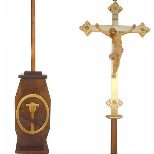 Krzyż procesyjny drewno h 220 cm z podstawą herb Franciszkański 1