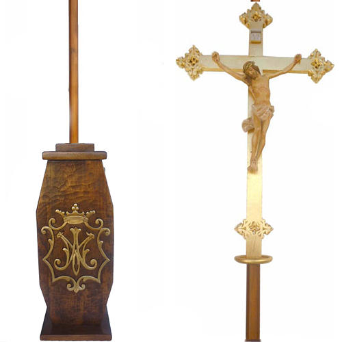 Processional cross in wood H220cm with Marian symbol on base 1