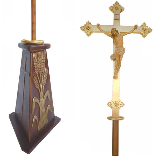 Krzyż procesyjny drewno h 220 cm z podstawą symbol kłosów 1