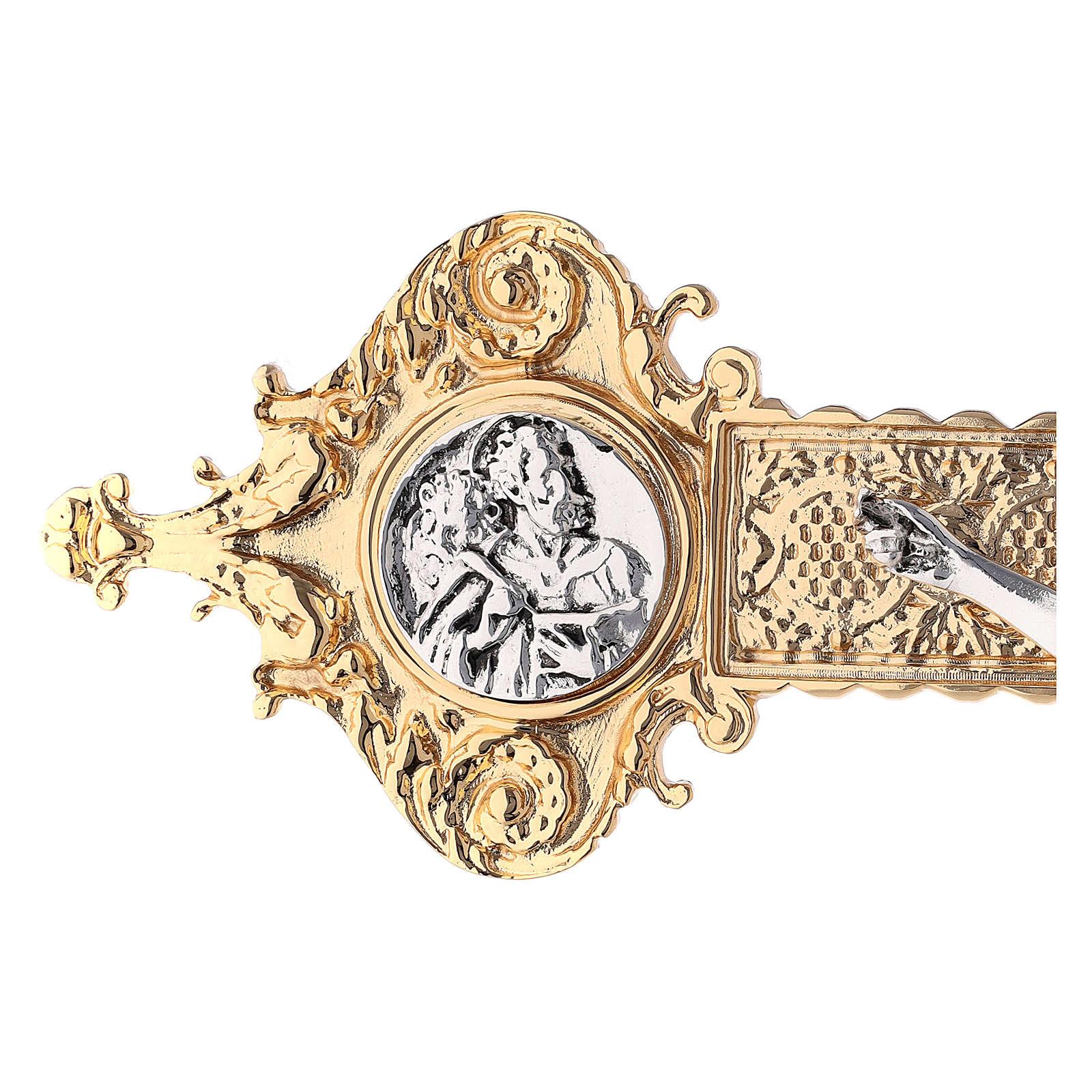 Croce astile 4 Evangelisti ottone bicolore 62x40 cm 4