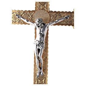 Croce astile 4 Evangelisti ottone bicolore 62x40 cm s2