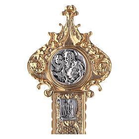 Croce astile 4 Evangelisti ottone bicolore 62x40 cm s6