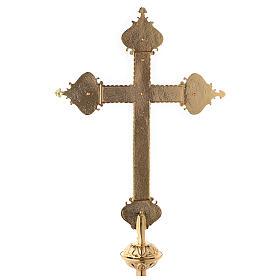Croce astile 4 Evangelisti ottone bicolore 62x40 cm s11