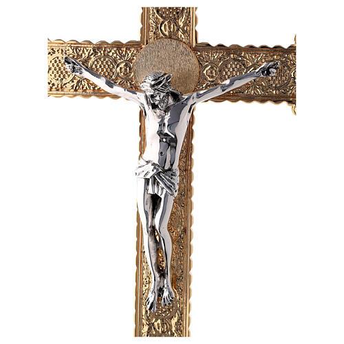 Croce astile 4 Evangelisti ottone bicolore 62x40 cm 2
